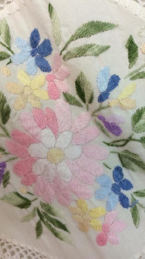 Pair Embroidered White Bedding Throw Pillows - 7