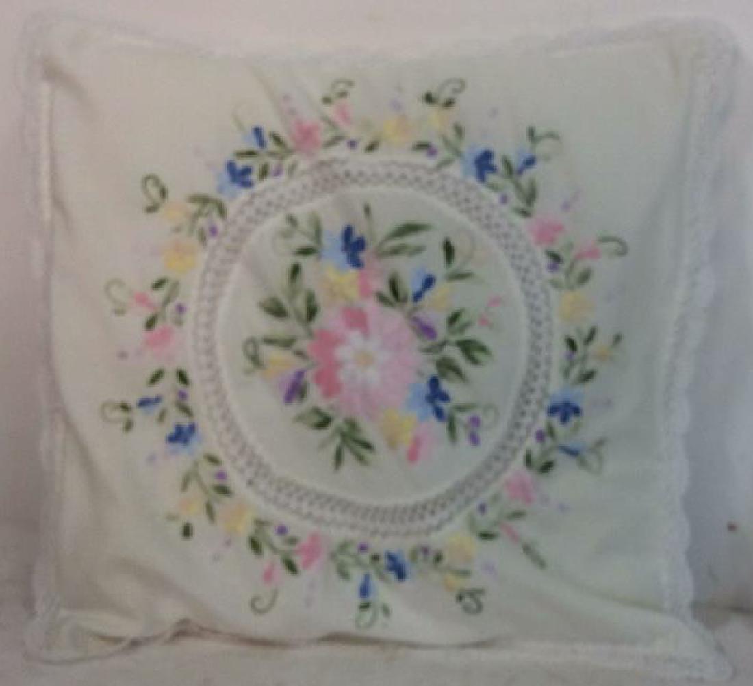 Pair Embroidered White Bedding Throw Pillows - 8
