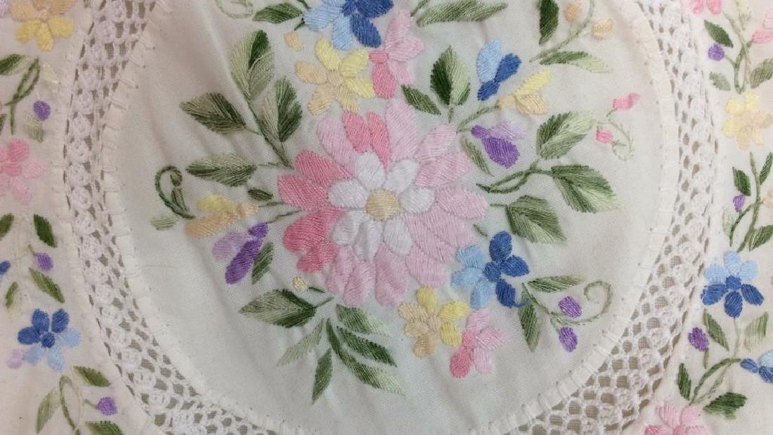 Pair Embroidered White Bedding Throw Pillows - 9