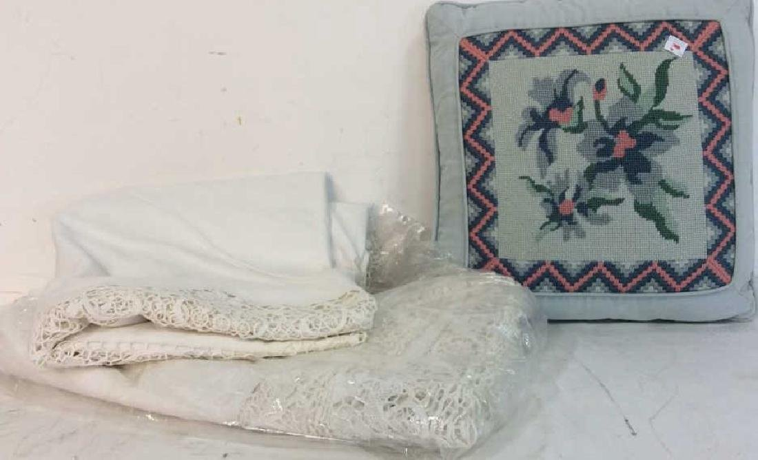 Vintage Needlepoint pillows w Lace table set