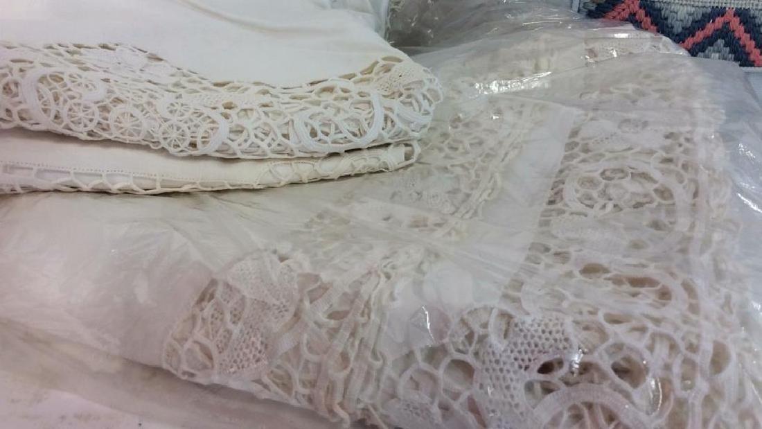 Vintage Needlepoint pillows w Lace table set - 2