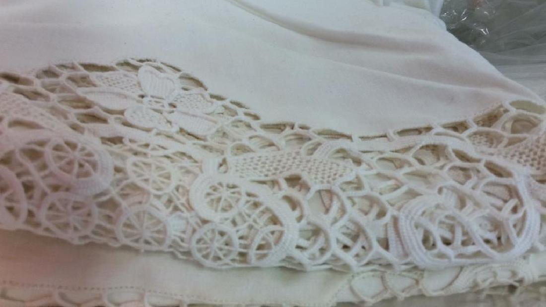 Vintage Needlepoint pillows w Lace table set - 4