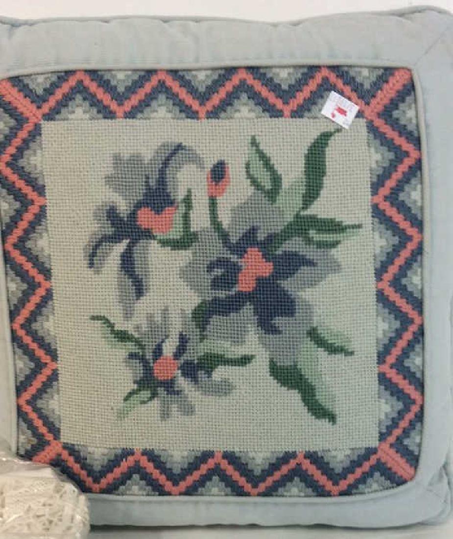 Vintage Needlepoint pillows w Lace table set - 5