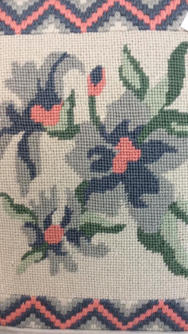 Vintage Needlepoint pillows w Lace table set - 6