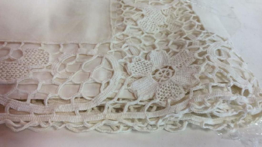 Vintage Needlepoint pillows w Lace table set - 7