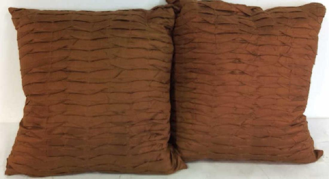 Pair Copper Silk Throw Pillows