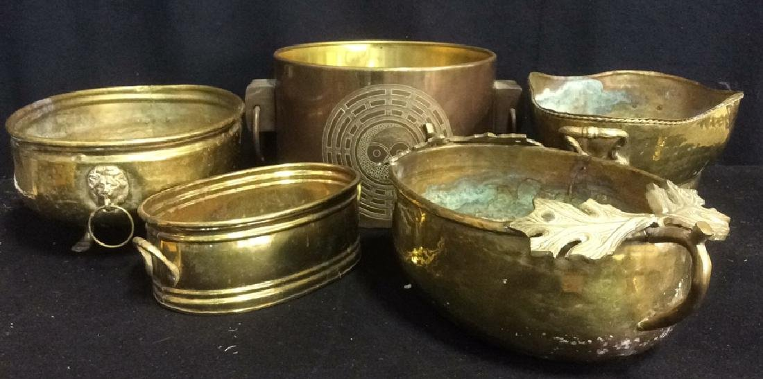 Group of 5 Brass Footed Hammered Handled Planters