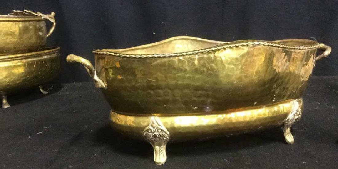 Group of 5 Brass Footed Hammered Handled Planters - 4