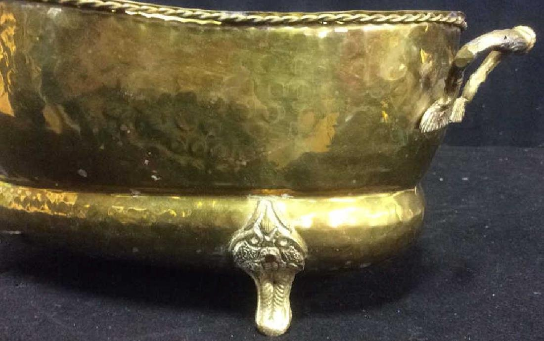 Group of 5 Brass Footed Hammered Handled Planters - 6