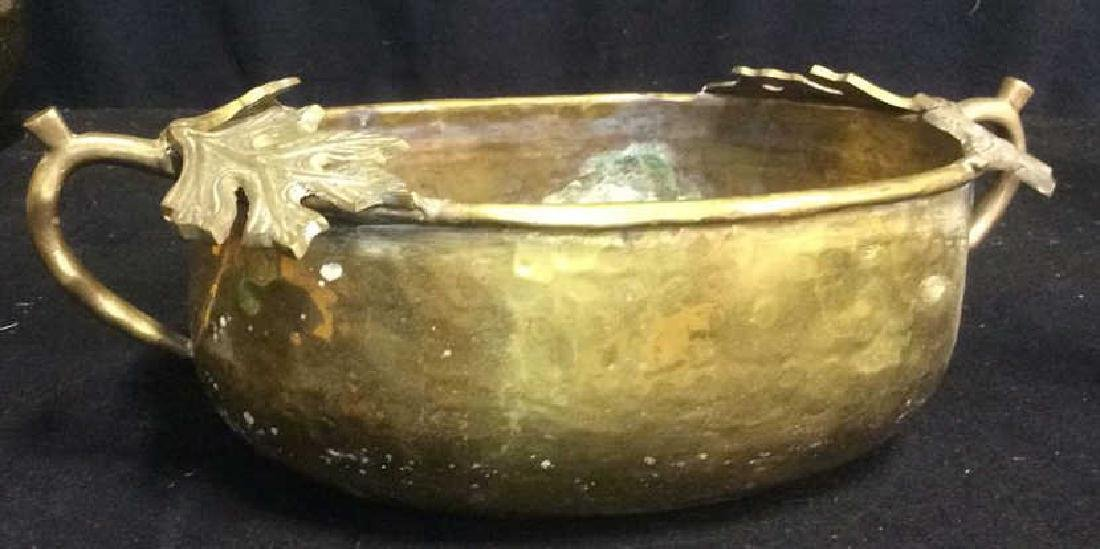 Group of 5 Brass Footed Hammered Handled Planters - 7