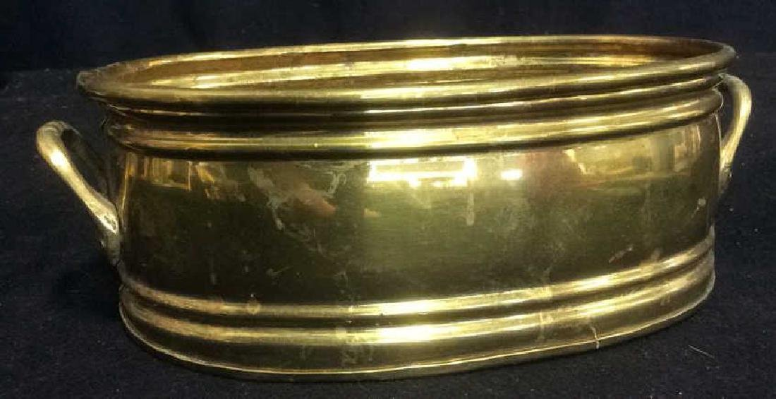 Group of 5 Brass Footed Hammered Handled Planters - 9