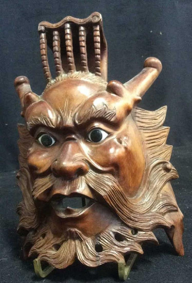 Wood Hand Carved Face Mask Wall Art