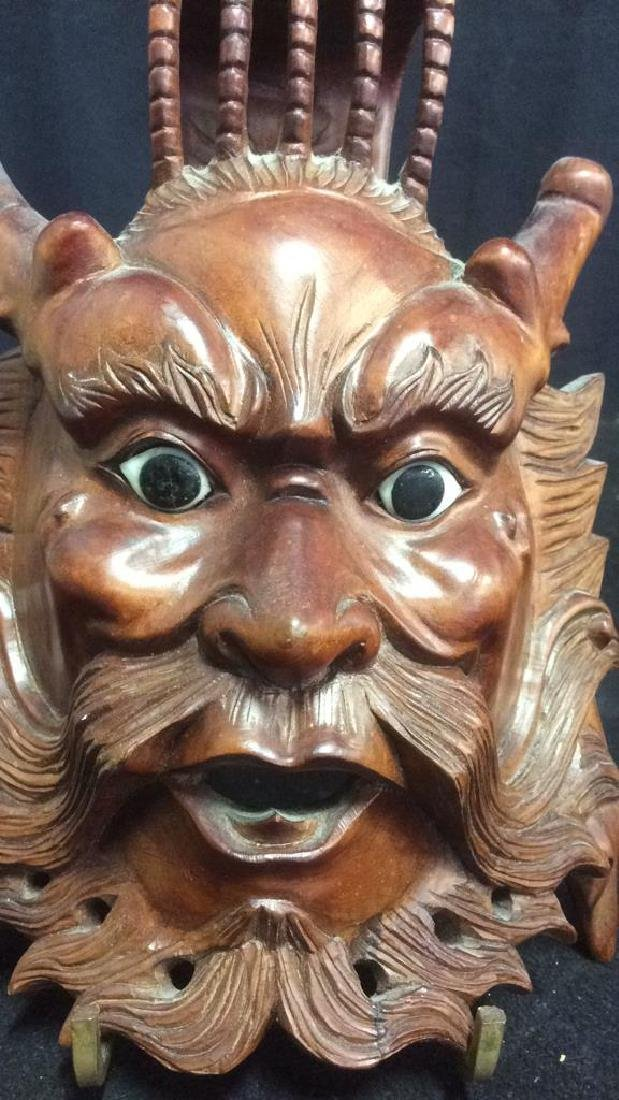 Wood Hand Carved Face Mask Wall Art - 2