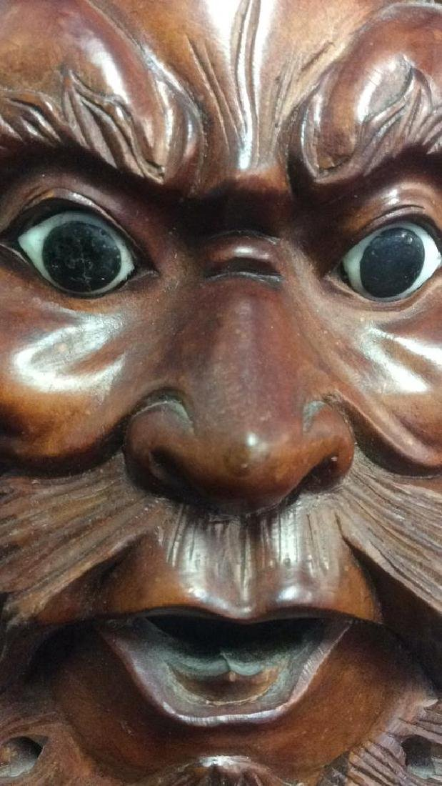 Wood Hand Carved Face Mask Wall Art - 3