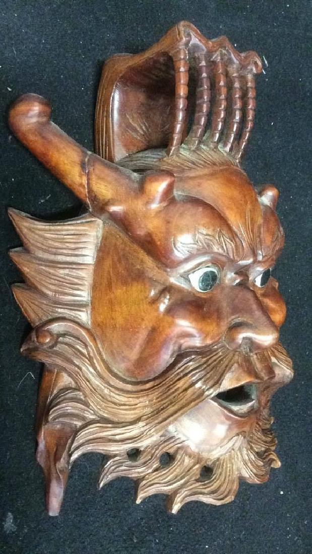 Wood Hand Carved Face Mask Wall Art - 5