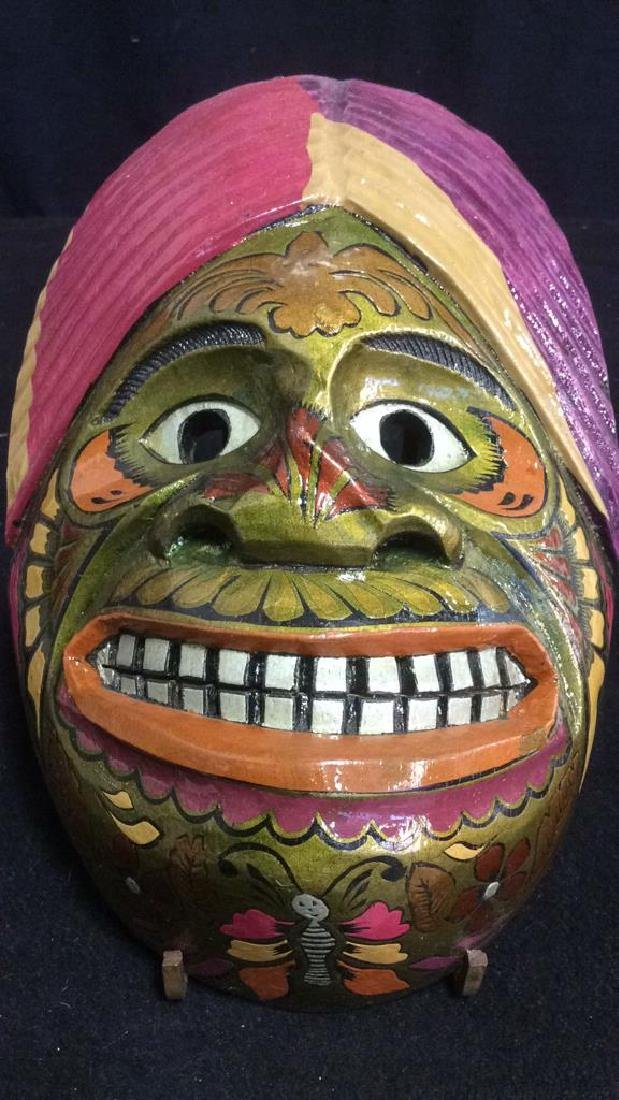 Carved Wood Hand Painted Face Mask Wall Art