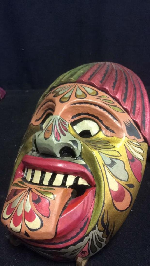 Hand Carved Wood Hand Painted Face Mask - 2