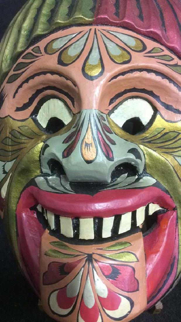 Hand Carved Wood Hand Painted Face Mask - 3