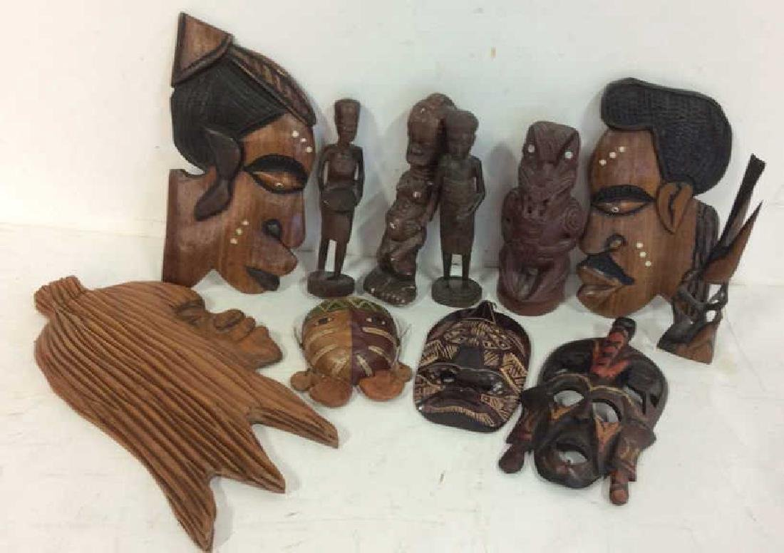 Group carved African Masks and Figures
