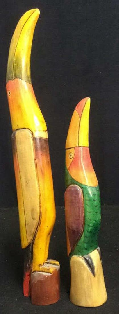 Two Carved Wood Hand Painted Toucan Sculptures - 2