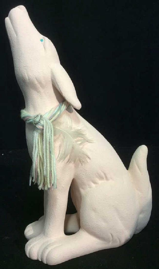 Howling Bisque Coyote Sculpture