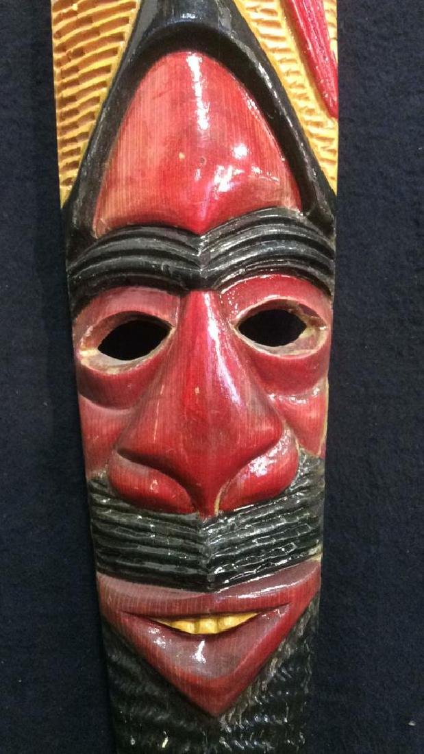 Carved Wood Hand Painted Face Mask - 3