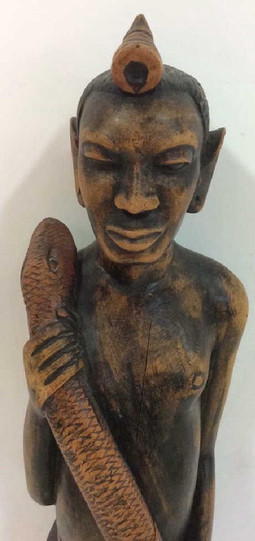 Carved painted African Figural Sculpture w Snake - 4