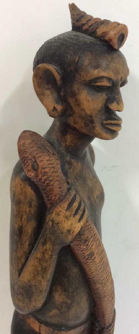 Carved painted African Figural Sculpture w Snake - 5