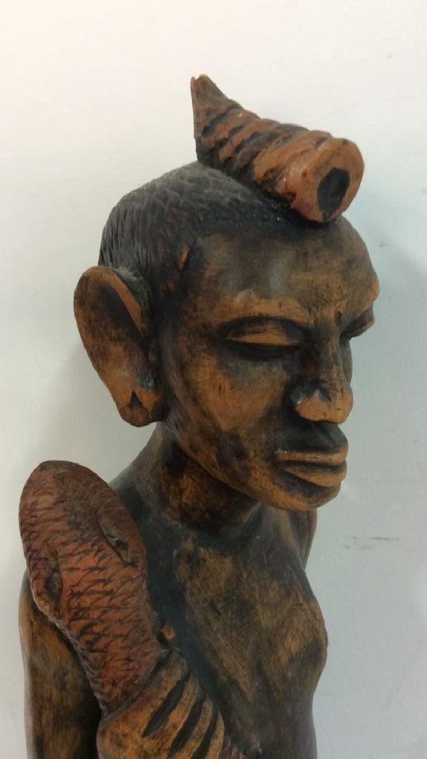 Carved painted African Figural Sculpture w Snake - 6