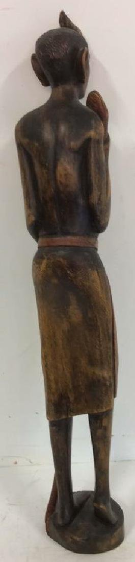 Carved painted African Figural Sculpture w Snake - 7