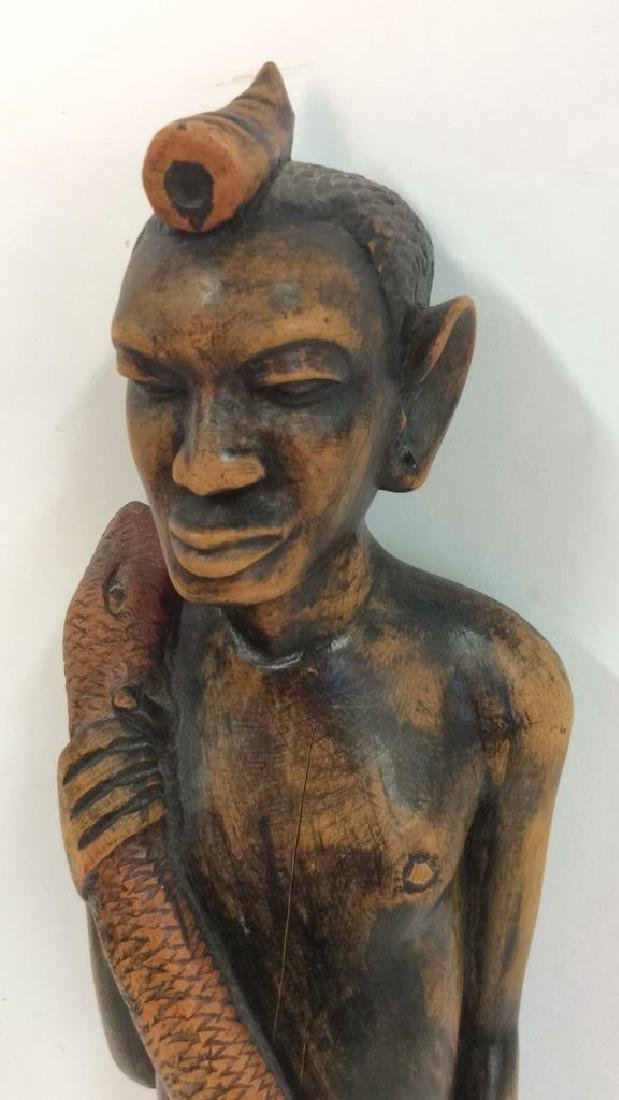 Carved painted African Figural Sculpture w Snake - 9