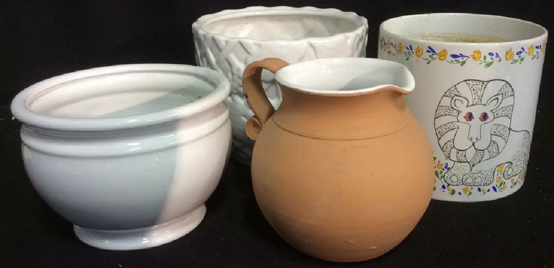 Group Lot 4 Ceramic Planters Pots Pitcher