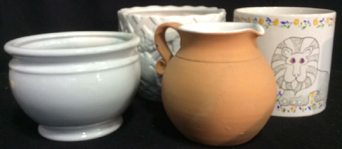 Group Lot 4 Ceramic Planters Pots Pitcher - 2