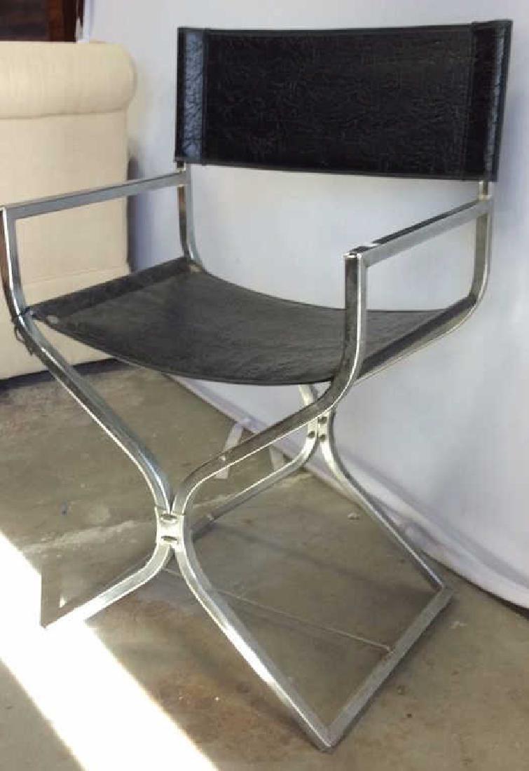 Black Leather Chrome Mid Century Arm Chair - 10
