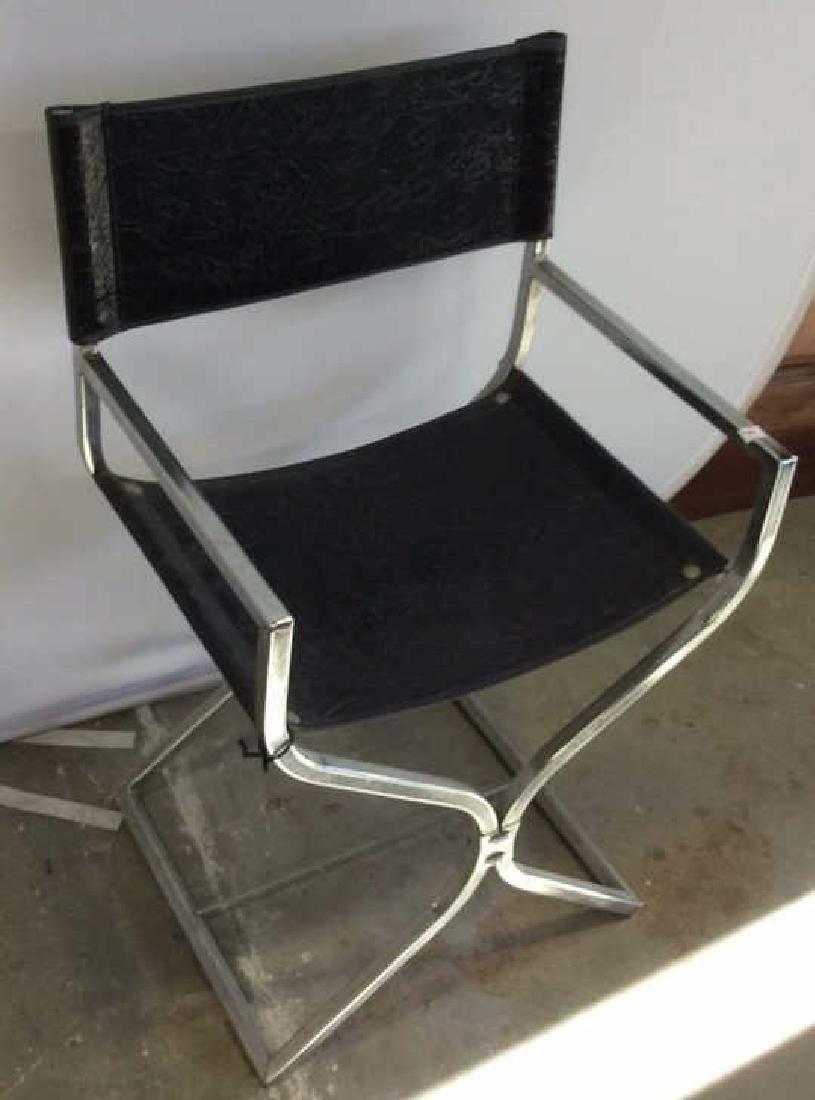 Black Leather Chrome Mid Century Arm Chair