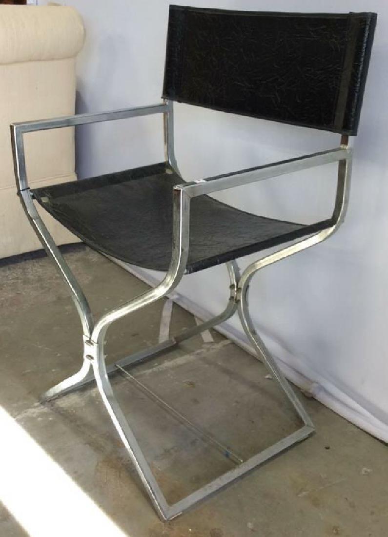 Black Leather Chrome Mid Century Arm Chair - 2