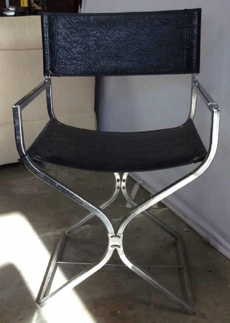 Black Leather Chrome Mid Century Arm Chair - 3