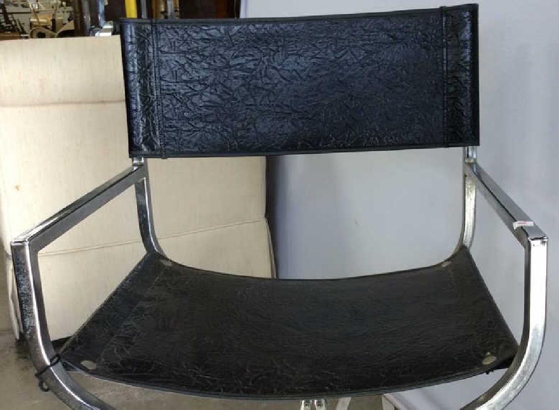 Black Leather Chrome Mid Century Arm Chair - 4