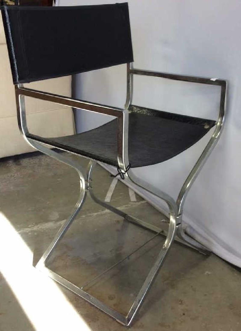 Black Leather Chrome Mid Century Arm Chair - 6
