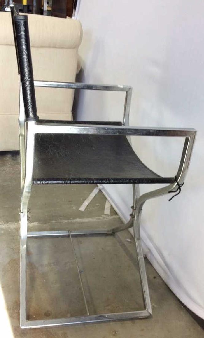 Black Leather Chrome Mid Century Arm Chair - 7