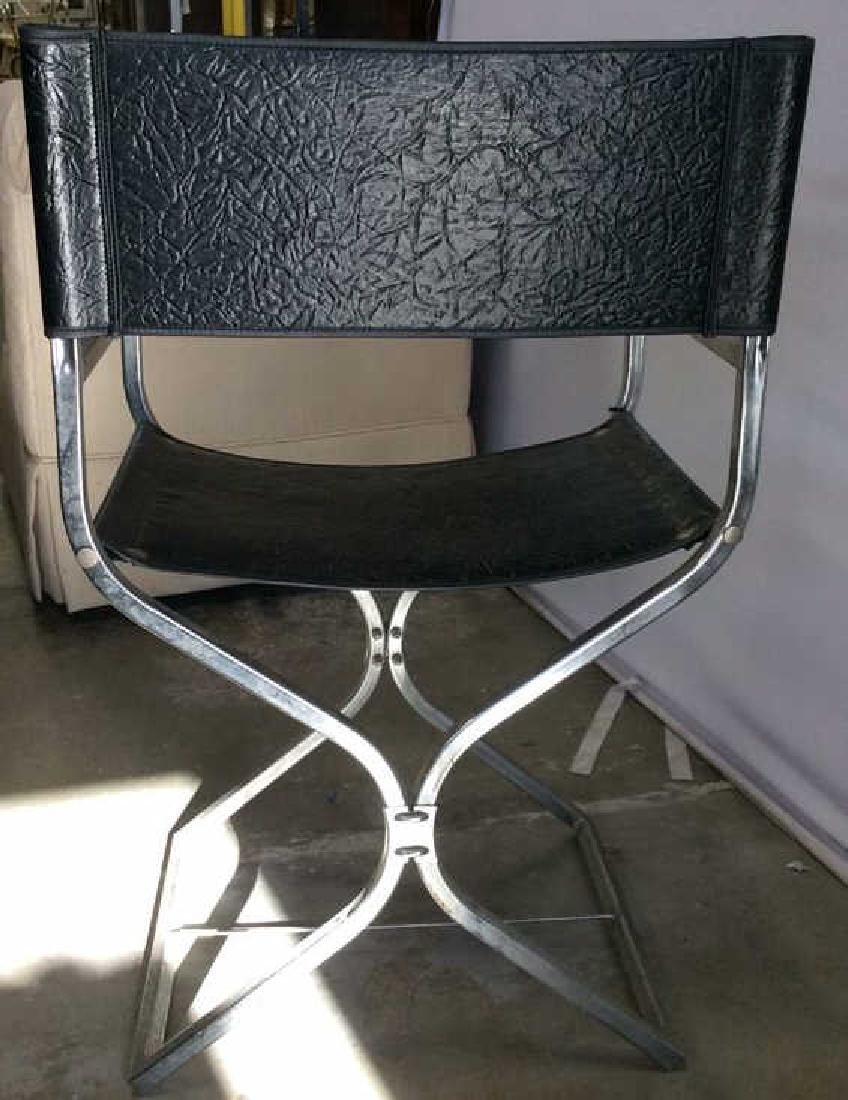 Black Leather Chrome Mid Century Arm Chair - 8