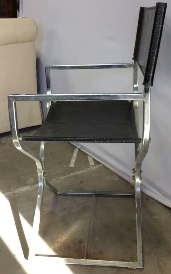 Black Leather Chrome Mid Century Arm Chair - 9