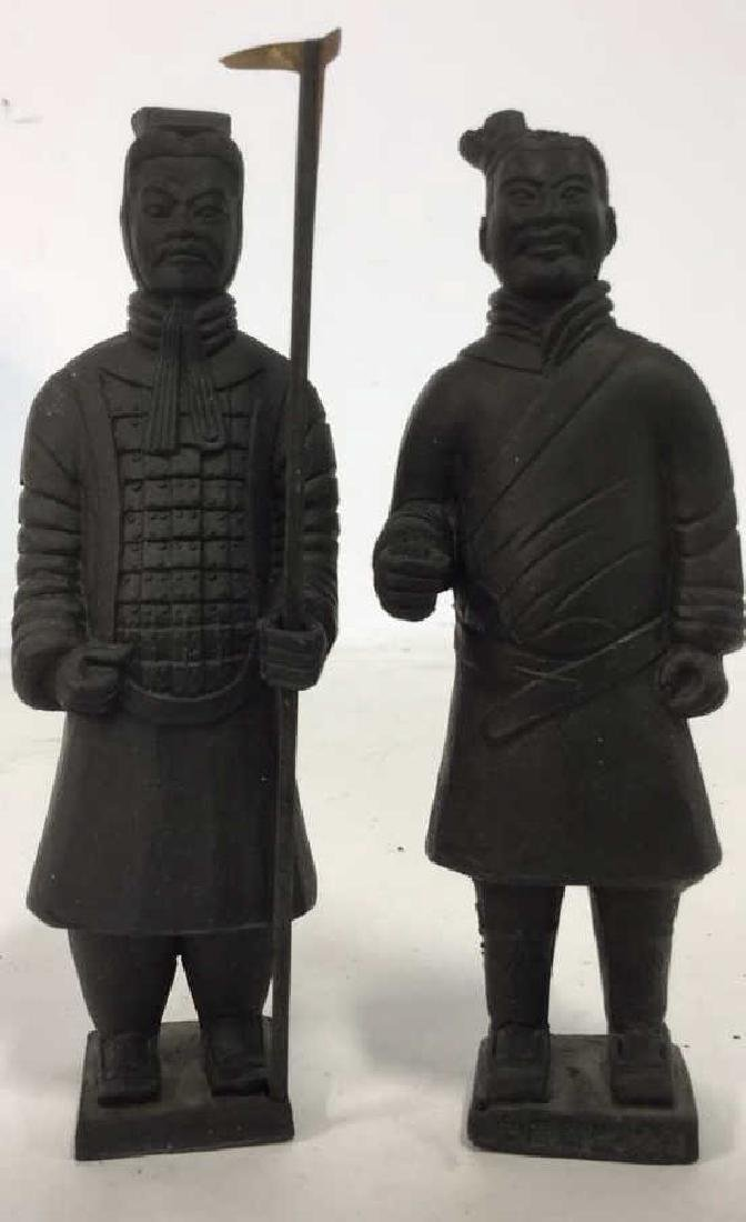Pair Chinese Terra Cotta Warrior Soldiers of - 2