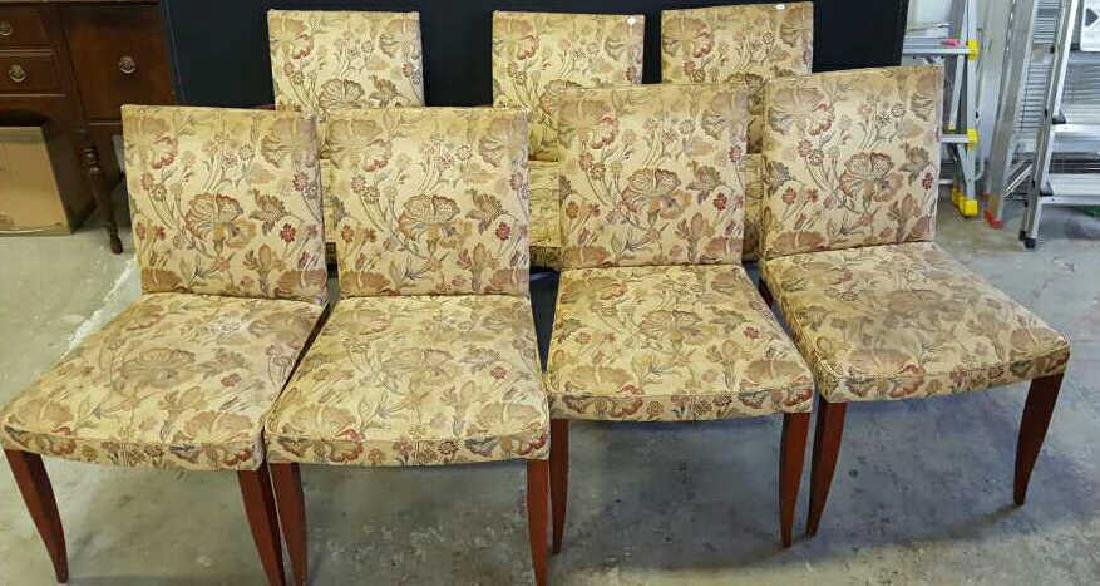 Set of 7 Vintage Mahogany Upholstered Dining