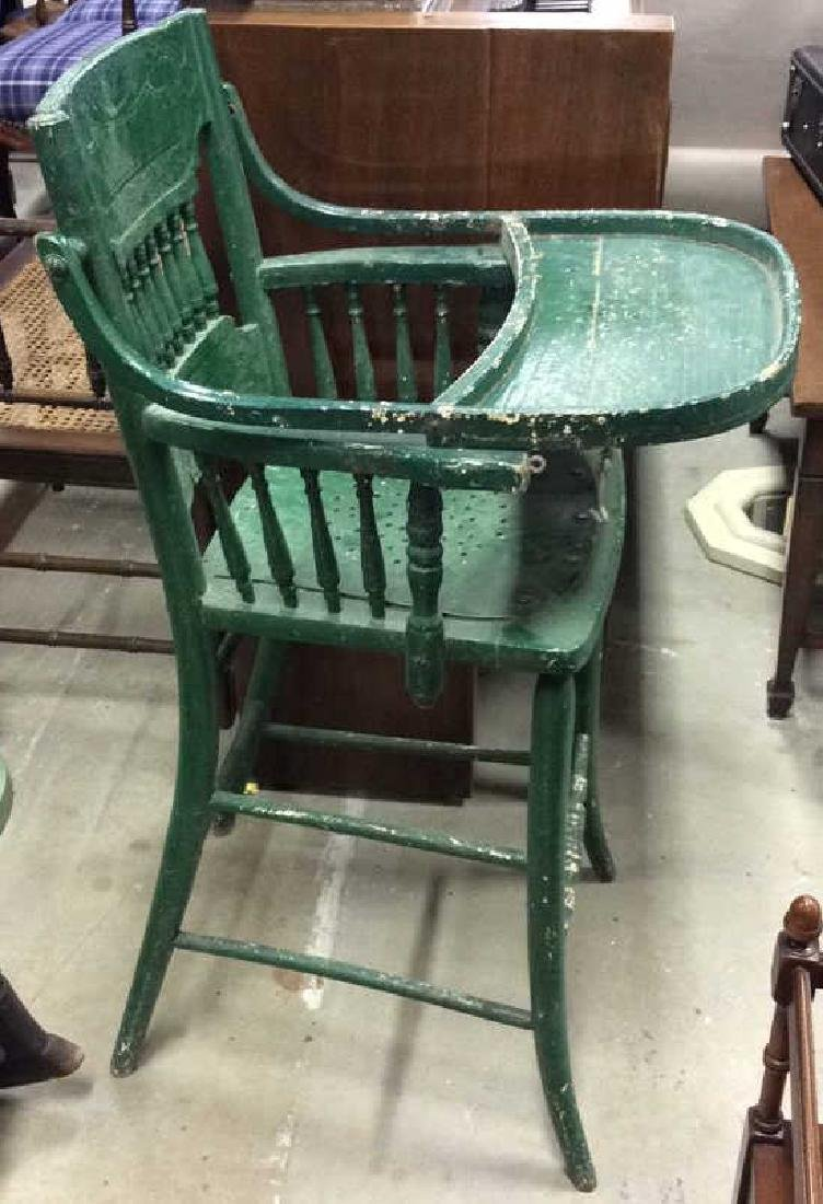 Vintage Green Painted Wood High Chair