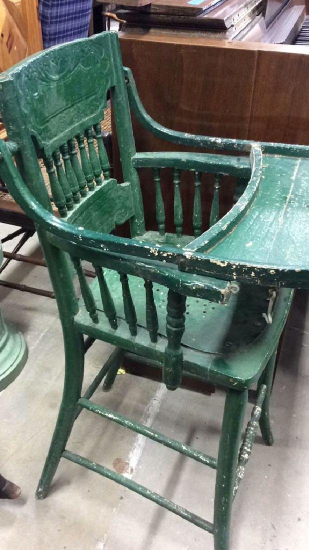 Vintage Green Painted Wood High Chair - 2