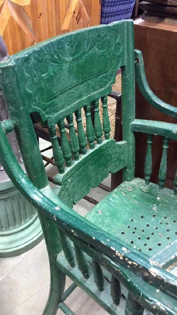 Vintage Green Painted Wood High Chair - 3
