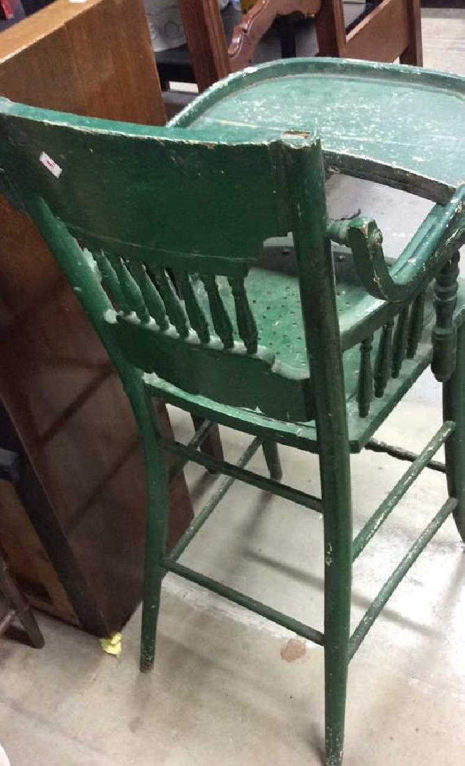 Vintage Green Painted Wood High Chair - 4