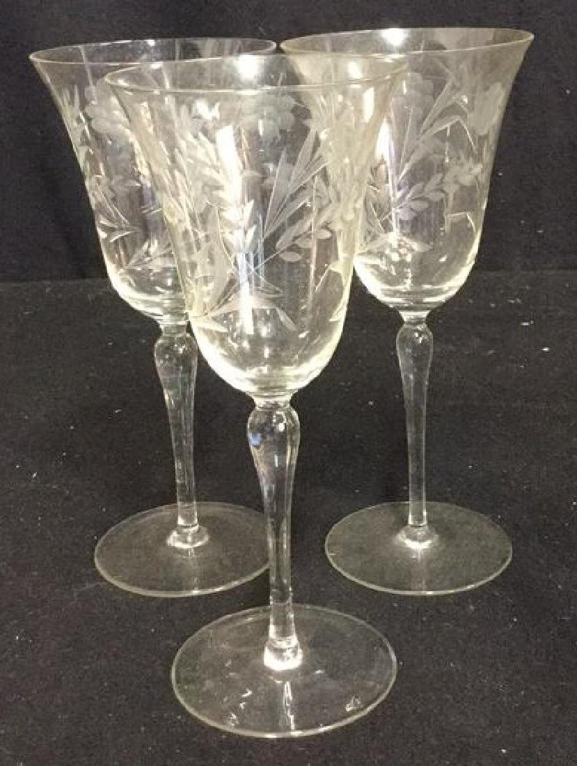 Crystal Etched Tulip Form Wine Glasses