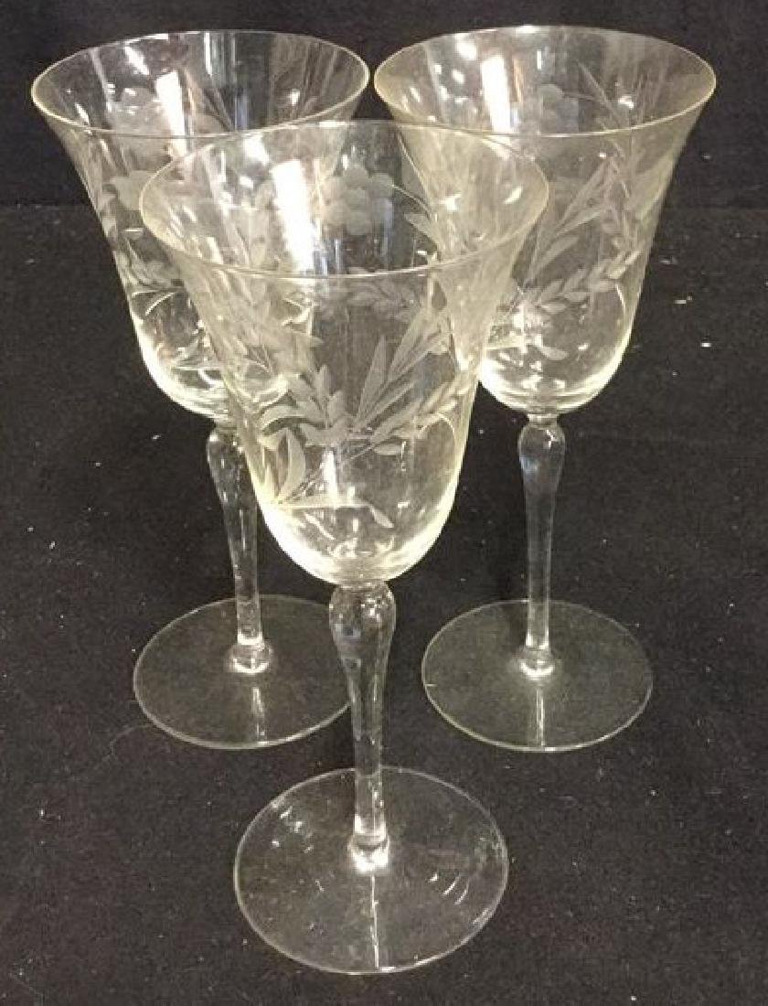 Crystal Etched Tulip Form Wine Glasses - 2